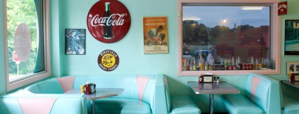 Booths at Fender's Diner